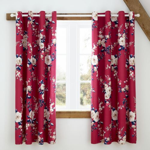 Catherine Lansfield Canterbury Plum Blackout  Eyelet Curtains